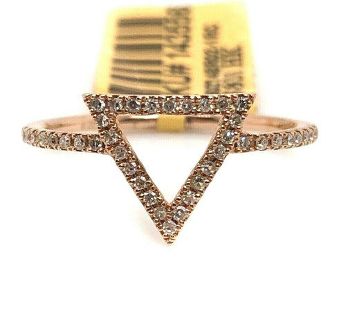 14k Rose Gold 0.18 ctw Diamond Open Triangle Delta Ring Size 6.75 USA NEW