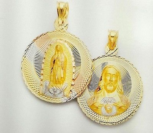 14k tri color gold double sided Virgin Mary Guadalupe & Jesus round pendant 27mm
