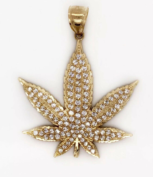 10K Solid Yellow Gold Large Marijuana Leaf Weed Pot Pendant Mens Pendant 7.4 Gr