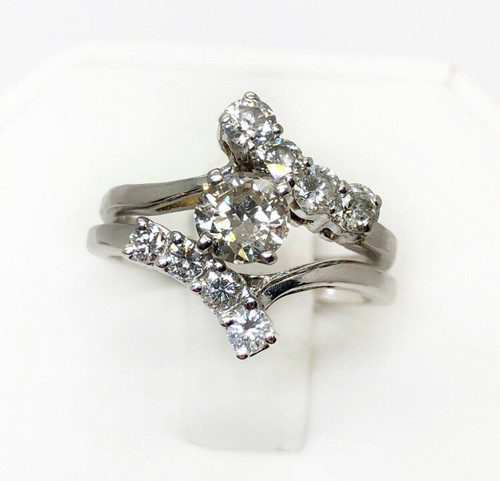 1.43 TCW Natural Round Diamond 14K White Gold Engagement Ring & Matching Band