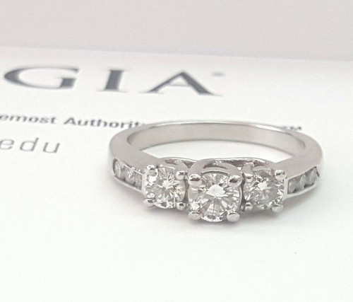 1 TCW Not Enhanced Round Diamond 14k White Gold 3 Stone Engagement/Wedding Ring