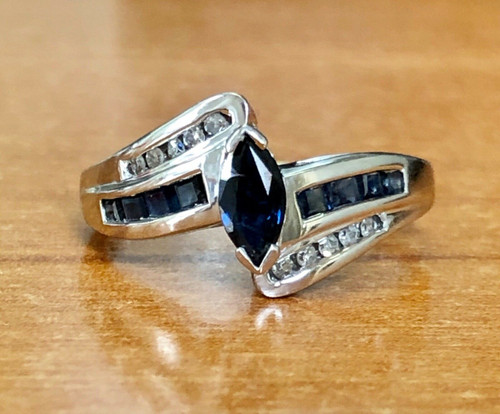 0.78 TCW Natural Diamond & Blue Sapphire 10K Solid White Gold Cluster Ring