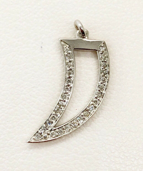 14K White Gold 0.18 Ct Natural Diamond Dagger/Horn Pendant, Charm Bracelet 19MM