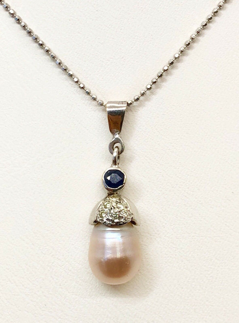 18K White Gold Natural Diamond, Sapphire and Pearl Pendant & Chain Necklace