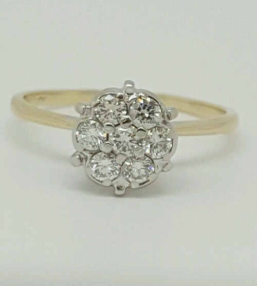 Genuine Round Diamond Engagement Ring 14k Two Tone Gold 0.42 TCW G, SI1 Size 6