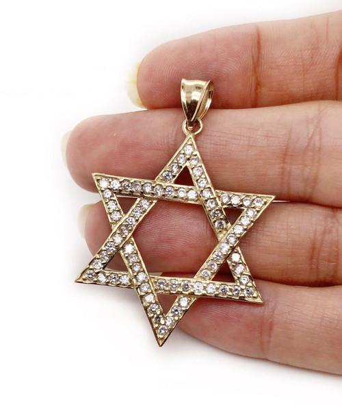 "Star of David Jewish Symbol 10K Solid Yellow Gold CZ Pendant 6.8 Grams, 1.96 """