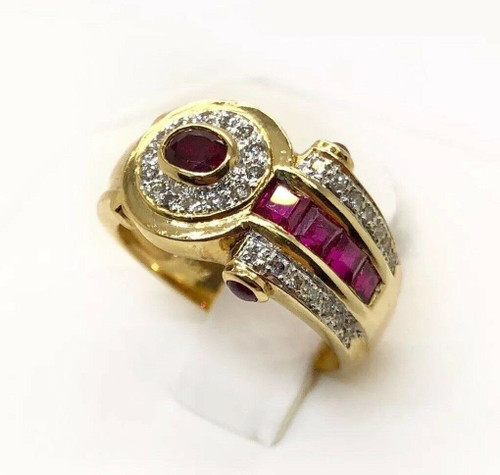 Vintage 18k Yellow Gold 1.22 TCW Natural Diamond & Red Ruby Ring Size 6