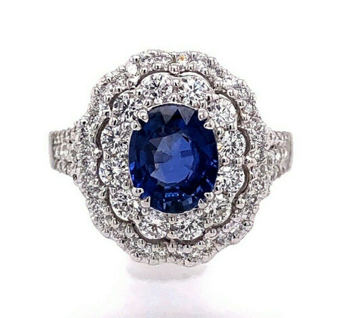 18k White Gold 3.52 TCW Blue Sapphire and Diamond Double Halo Ring VS1-2, G
