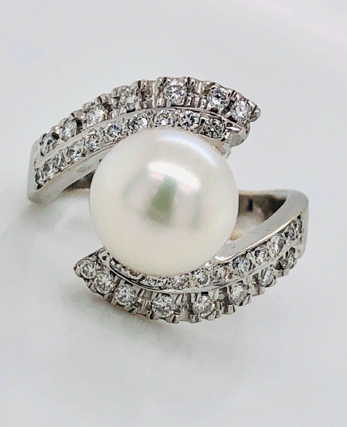18K White Gold 0.50 Ct Natural Diamond & Pearl Bypass Ring SI1, G