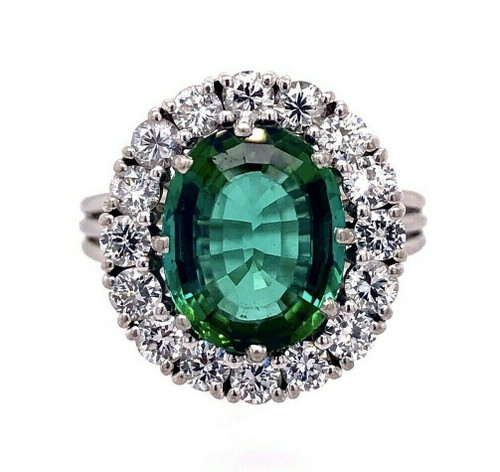 Platinum 6.5 Ct Green Tourmaline Gem & 1.30 TCW E-F Diamond Ring