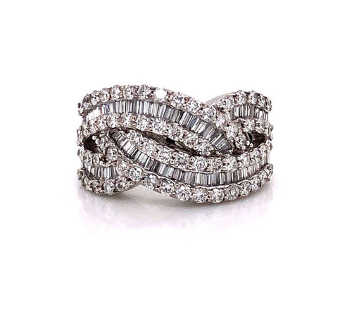 1.65 TCW Natural Diamond 18K White Gold Women's Wide Cluster Ring
