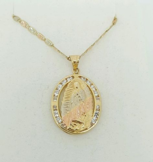 "14k Tri Color Gold Virgin Mary Guadalupe Pendant & Valentino Chain 18"" to 24"""