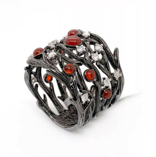 Solid 14k Black Gold Tree Branch Wood Logs Ring 1.39 Ct Natural Diamond & Agate