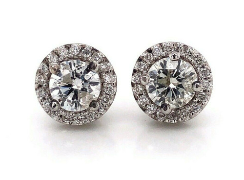 18K White Gold 1.75 Ct Natural Round Diamond Halo Stud Earrings