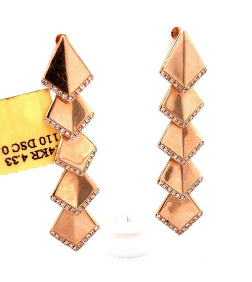 """14k Rose Gold 0.29 Ct Diamond Long Dangling Gypsy Earrings 1.46"""""""