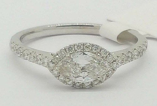 14K White Gold 0.68 Ct Marquise Diamond Halo Engagement Ring Size 6.5