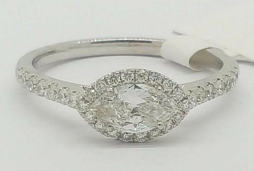 14K White Gold 0.68 Ct Marquise Diamond Halo Engagement Ring Size 6.5