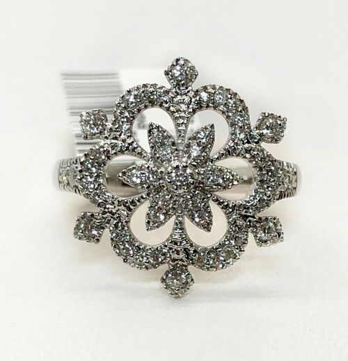 14K White Gold Diamond Snow Flake Ring 0.38 TCW Natural Cluster Womens Size 6.75