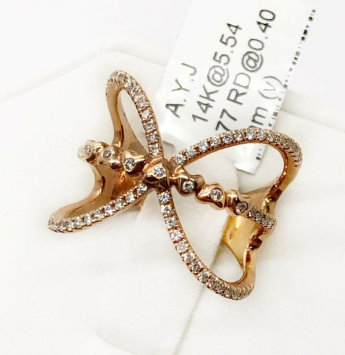 14K Rose Gold 0.40 Ct Pave Diamond Butterfly Ring Wide Ring