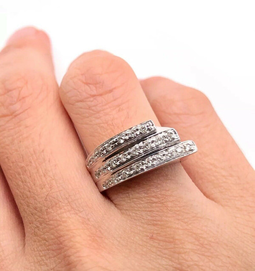 18k Heavy White Gold Diamond Three Rows Wide Ring 0.35 TCW 10.5 Grams Size 8