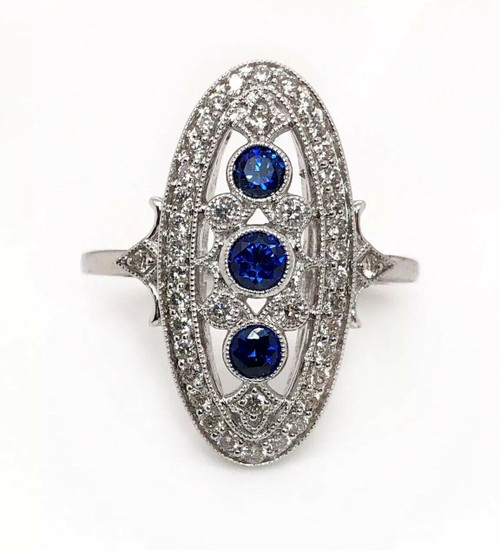 14k White Gold 1.50 TCW Blue Sapphire and Diamond Art Deco Ring VS2, G