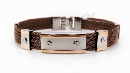 Italgem 18k Rose Gold and Stainless S Mens Cable Bangle Bracelet Made In Italy