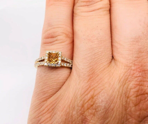 14K Yellow Gold 0.63 TCW Diamond Semi Mount Engagement Ring Center 0.50 Ct