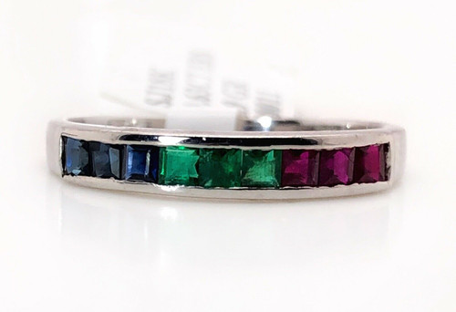 18K Solid White Gold Ruby Sapphire Emerald Rainbow Wedding,Anniversary Band Ring