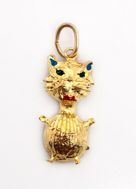 Vintage 18k Yellow Gold Painted Enamel Fat Cat Pendant