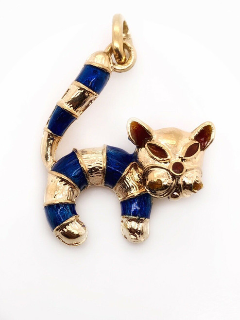 Vintage 18k Yellow Gold Painted Enamel Cat Pendant