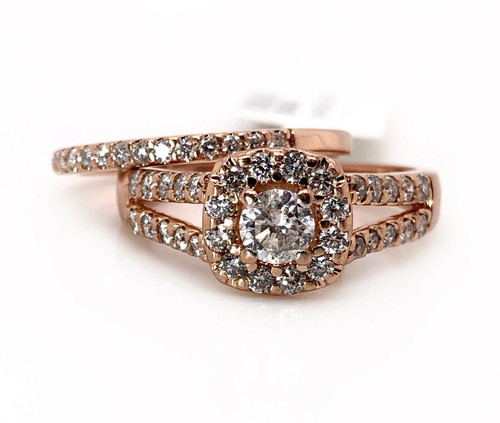 14k Rose Gold 1.00 TCW Natural Diamond Halo Engagement Ring & Wedding Band