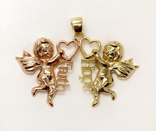 14k Yellow & Rose Gold Two Angels With Faith & Hope Words Pendant Unisex, 6.7G