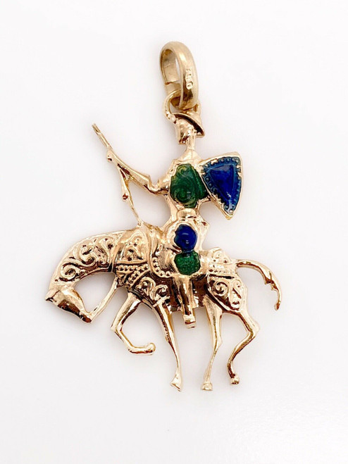 18k Solid Yellow Gold Cowboy Traveler Riding Horse Enamel Pendant