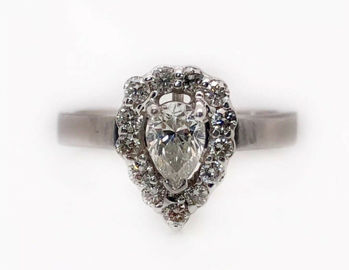 Pear Diamond Engagement Ring 0.66 Ct Natural 14K White Gold Halo Bridal Ring
