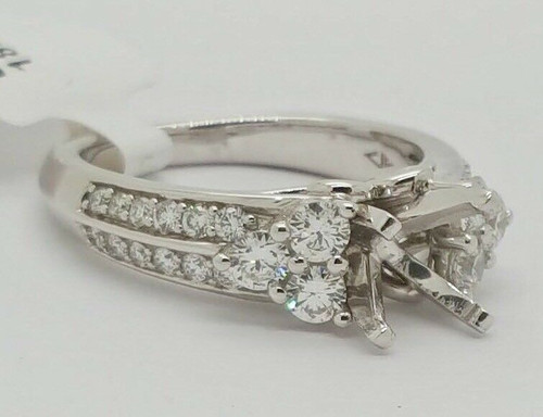 18k White Gold Platinum Setting Diamond Semi Mount Engagement Ring 0.90 Ct 6.5MM