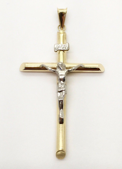14K Real Two Tone Yellow Rose Gold Jesus Cross Dia Cut Crucifix Charm Pendant