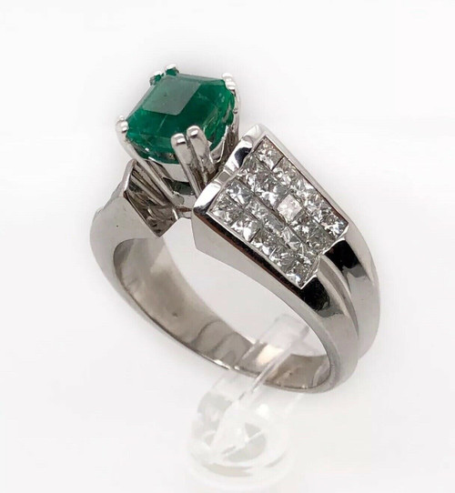 GIA Certified 18K White Gold Ring With 3.46 CT Emerald & Diamonds
