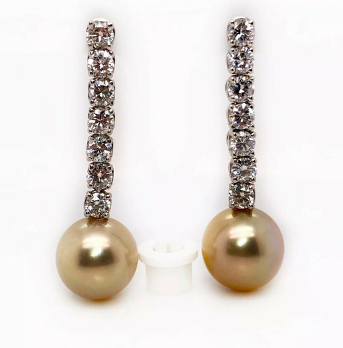 18K White Gold Diamond Dangle Natural Pearl Earrings 3.10 Ct 1.57""