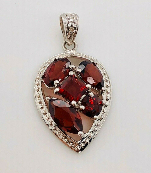 14K Solid White Gold 3.01 CTW Red Garnet & Diamond Womens Cocktail Pendant