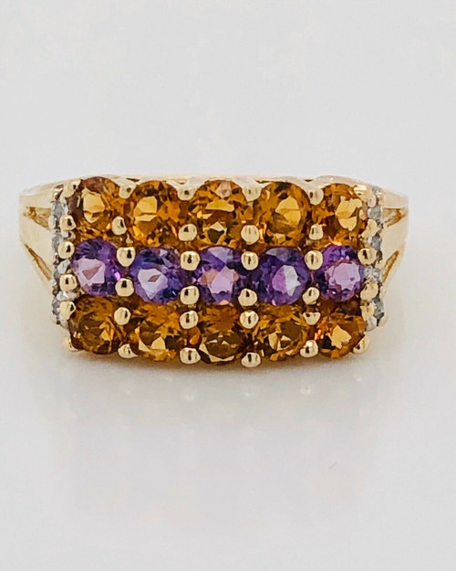 14K White Gold 1.5 TCW Natural Citrine Amethyst Diamond Cocktail Ring