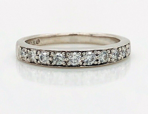 0.30 Ct Natural Round Diamond 14K Solid White Gold 3 mm Wedding Band Ring Size 5