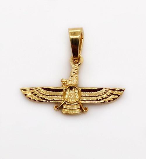 18k Yellow Gold Farvahar Ahura Zoroastrian Achaemenid Pendant 18 mm