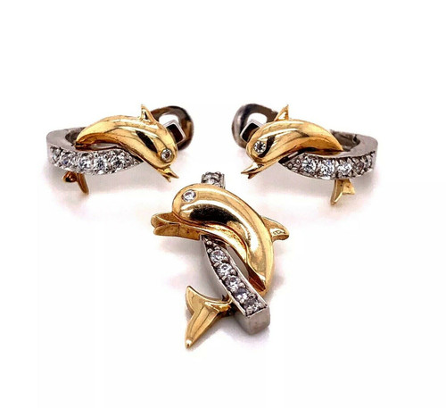10k White and Yellow Gold Dolphin Earrings & Pendant Set 6.2 Grams