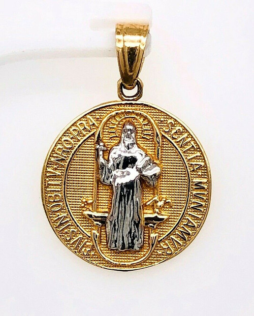 14k Solid Gold Saint Benedict of Nursia Medal San Benito Cross Charm Pendant