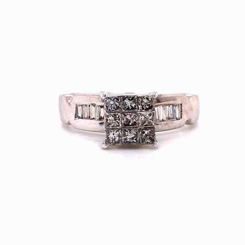 14k White Gold 1 Ct Natural Diamond Engagement Ring Princess Cut