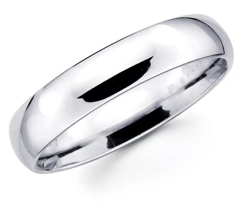 Solid 14K White Gold 5 MM Size 8 Comfort Fit Wedding Ring Band Mens Womens