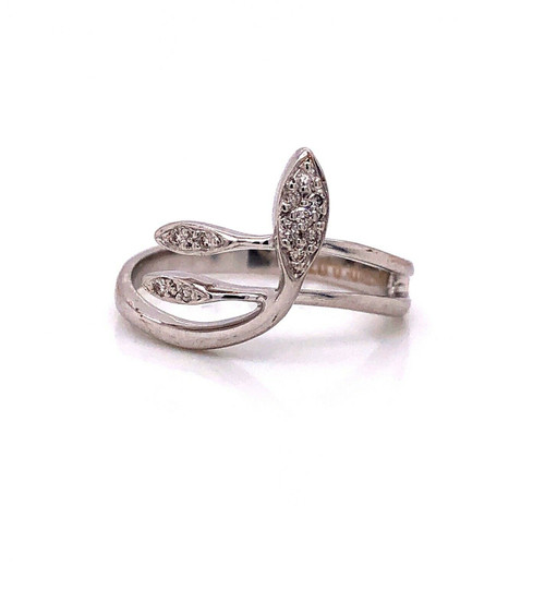18k White Gold 0.07 Ct Natural Diamond Snake Ring Size 6.5