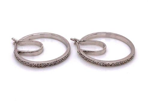 """18K White Gold 0.18 Ct Natural Diamond Hoop Earrings 0.83"""""""