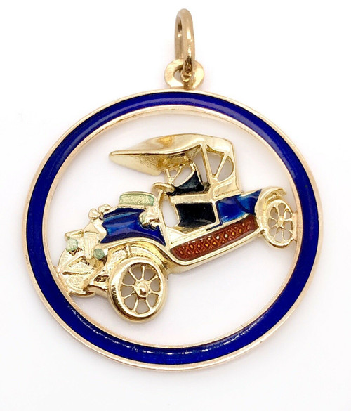18k Solid Yellow Gold Antique Car Painted Enamel Pendant 1.18""