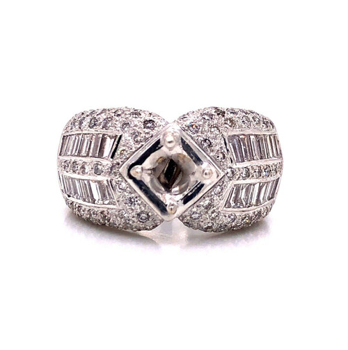 3.5Ct Natural Diamond 18K White Gold Wide Heavy Semi Mount Ring Center 1Ct 6.5mm